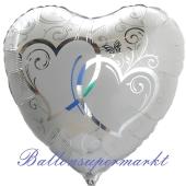 Luftballon aus Folie, Folienballon Herz, Verschlungene Herzen, silber