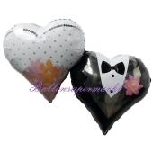 Hochzeitsluftballon aus Folie, Folienballon Herz, Wedding Couple, ohne Helium