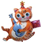 Luftballon Tiger mit Gitarre zum Geburtstag, inklusive Helium