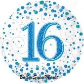 Luftballon aus Folie mit Helium, Sparkling Fizz Blue 16, zum 16. Geburtstag und Jubiläum