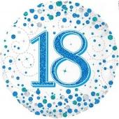 Luftballon aus Folie mit Helium, Sparkling Fizz Blue 18, zum 18. Geburtstag und Jubiläum