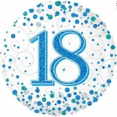 Luftballon zum 18. Geburtstag, Sparkling Fizz Blue 18, ohne Helium-Ballongas