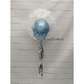 Deko Bubbles Luftballon Blau mit Helium Ballongas
