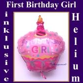 Luftballon zum ersten Geburtstag mit Helium Ballongas, First Birthday Girl