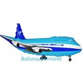 Flugzeug Luftballon aus Folie in blau mit Ballongas Helium
