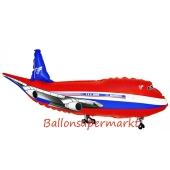 Flugzeug Luftballon aus Folie in rot ohne Ballongas Helium