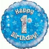 Luftballon aus Folie zum 1. Geburtstag, Happy 1st Birthday Blue