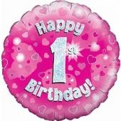 Luftballon aus Folie zum 1. Geburtstag, Happy 1st Birthday Pink