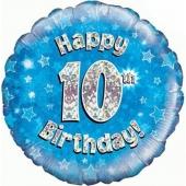 Luftballon aus Folie zum 10. Geburtstag, blauer Rundballon, Junge, Zahl 10, inklusive Ballongas