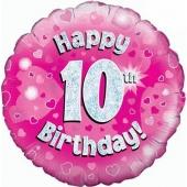 Luftballon aus Folie zum 10. Geburtstag, Happy 10th Birthday Pink