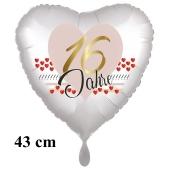 16 Jahre Herzluftballon aus Folie zum 16. Geburtstag, 43 cm, satinweiß, mit Ballongas-Helium