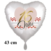 Herzluftballon zum 16. Geburtstag, 16 Jahre, 43 cm, satinweiß, ohne Helium-Ballongas