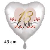 18 Jahre Herzluftballon aus Folie zum 18. Geburtstag, 43 cm, satinweiß, mit Ballongas-Helium