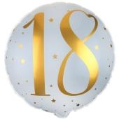 Luftballon aus Folie zum 18. Geburtstag, Gold-Weiß, ohne Ballongas