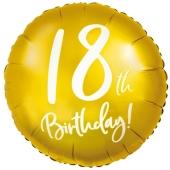 Luftballon aus Folie Zahl 18 Gold, zum 18. Geburtstag, inklusive Helium