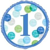 Luftballon aus Folie, 1st Birthday Blue Dots, inklusive Helium