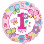 Luftballon aus Folie zum 1. Geburtstag, Girl, Maedchen ohne Helium