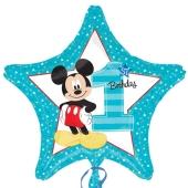 Luftballon aus Folie zum 1. Geburtstag, Micky Maus 1st Birthday ohne Helium