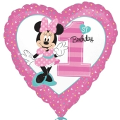 Luftballon aus Folie zum 1. Geburtstag, Minnie Maus 1st Birthday ohne Helium