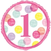 Luftballon aus Folie, 1st Birthday Pink Dots, inklusive Helium