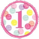 Luftballon 1st Birthday Pink Dots ohne Helium