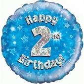 Luftballon aus Folie zum 2. Geburtstag, blauer Rundballon, Junge, Zahl 2, inklusive Ballongas