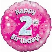 Luftballon aus Folie zum 2. Geburtstag, Happy 2nd Birthday Pink