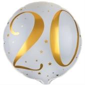 Luftballon aus Folie zum 20. Geburtstag, weisser Rundballon, Gold-Weiß, inklusive Ballongas