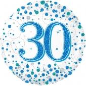 Luftballon aus Folie mit Helium, Sparkling Fizz Blue 30, zum 30. Geburtstag, Jubiläum