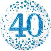Luftballon aus Folie mit Helium, Sparkling Fizz Blue 40, zum 40. Geburtstag, Jubiläum