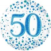 Luftballon aus Folie mit Helium, Sparkling Fizz Blue 50, zum 50. Geburtstag, Jubiläum