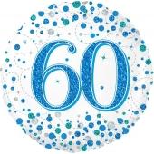 Luftballon zum 60. Geburtstag, Sparkling Fizz Blue 60, ohne Helium-Ballongas