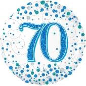 Luftballon zum 70. Geburtstag, Sparkling Fizz Blue 70, ohne Helium-Ballongas