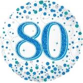 Luftballon zum 80. Geburtstag, Sparkling Fizz Blue 80, ohne Helium-Ballongas