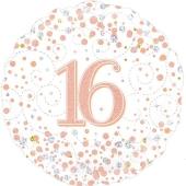 Luftballon aus Folie mit Helium, Sparkling Fizz Rosegold 16, zum 16. Geburtstag und Jubiläum