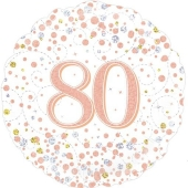 Luftballon aus Folie mit Helium, Sparkling Fizz Rosegold 80, zum 80. Geburtstag, Jubiläum