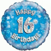 Luftballon zum 16. Geburtstag, Happy 16th Birthday Blue holo, ohne Helium-Ballongas