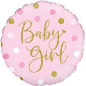 Folienballon Sparkling Baby Girl, Dots holo