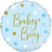 Sparkling Baby Boy, Dots holo, holografischer Luftballon aus Folie mit Helium