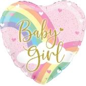 Rainbow Baby Girl, holo, holografischer Luftballon aus Folie mit Helium