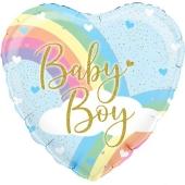 Rainbow Baby Boy, holo, holografischer Luftballon aus Folie mit Helium