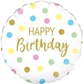 Geburtstags-Luftballon Pastel Dots Happy Birthday Holographic, ohne Helium-Ballongas