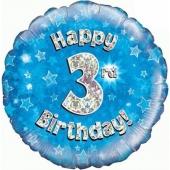 Luftballon aus Folie zum 3. Geburtstag, Happy 3rd Birthday Blue