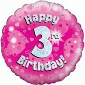 Luftballon aus Folie zum 3. Geburtstag, rosa Rundballon, Mädchen, Zahl 3, inklusive Ballongas