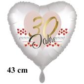30 Jahre Herzluftballon aus Folie zum 30. Geburtstag, 43 cm, satinweiß, mit Ballongas-Helium