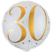 Luftballon aus Folie Zahl 30 Gold-Weiß, zum 30. Geburtstag