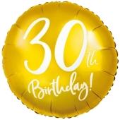 Luftballon aus Folie Zahl 30 Gold, zum 30. Geburtstag