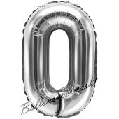 Luftballon Zahl 0, silber, 35 cm