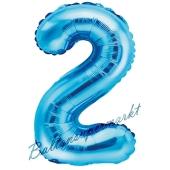 Luftballon Zahl 2, blau, 35 cm
