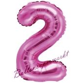 Luftballon Zahl 2, pink, 35 cm